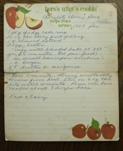 mom's recipe for cherry bars
